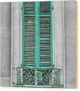 French Quarter Window In Green Wood Print