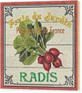 French Vegetable Sign 1 Wood Print by Debbie DeWitt