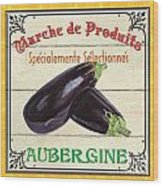 French Vegetable Sign 3 Wood Print by Debbie DeWitt