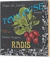 French Veggie Labels 3 Wood Print by Debbie DeWitt