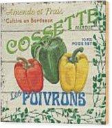French Veggie Sign 4 Wood Print