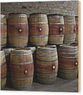 French Wine Barrels Stacked At Winery Wood Print