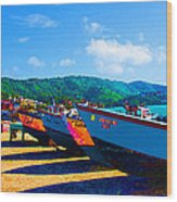 Frenchtown Boats Wood Print