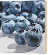 Fresh And Natural Blueberries Close Up On White Wood Print
