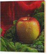 Fresh Apple On Silk Wood Print