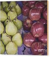 Fresh Apples And Pears On A Street Fair In Brazil Wood Print by Ricardo Lisboa