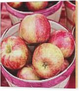 Fresh Apples In Buschel Baskets At Farmers Market Wood Print