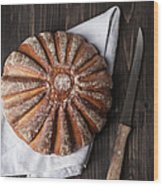 Fresh Baked Bread With Kitchen Knife On Wood Print