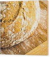 Fresh Baked Loaf Of Artisan Bread Wood Print