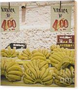 Fresh Bananas On A Street Fair In Brazil Wood Print by Ricardo Lisboa