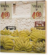 Fresh Bananas On A Street Fair In Brazil Wood Print