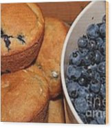 Fresh Blueberries And Muffins Wood Print