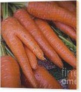 Fresh Carrots On A Street Fair In Brazil Wood Print