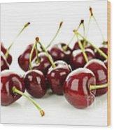 Fresh Cherries On White Wood Print by Elena Elisseeva