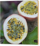 Fresh Cut Lilikoi Fruit Wood Print