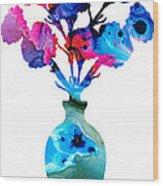 Fresh Cut - Vibrant Flowers Floral Painting Wood Print