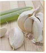Fresh Garlic And Green Onion Wood Print