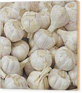 Fresh Garlic Bulbs Wood Print
