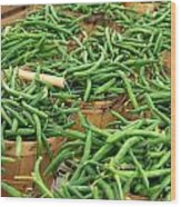 Fresh Green Beans In Baskets Wood Print