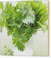 Fresh Herbs In A Glass Wood Print