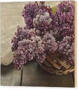 Fresh Lilacs In Brown Basket Wood Print
