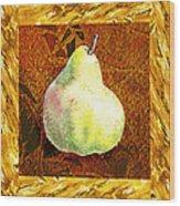 Fresh N Happy Pear Decorative Collage Wood Print
