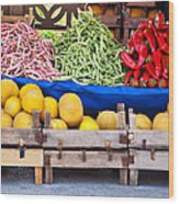 Fresh Organic Fruits And Vegetables At A Street Market Wood Print