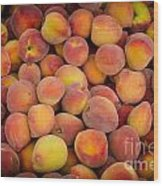 Fresh Peaches On A Street Fair In Brazil Wood Print by Ricardo Lisboa