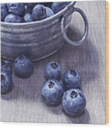 Fresh Picked Blueberries With Vintage Feel Wood Print