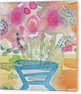Fresh Picked Flowers In A Blue Vase- Contemporary Watercolor Painting Wood Print