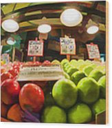 Fresh Pike Place Apples Wood Print