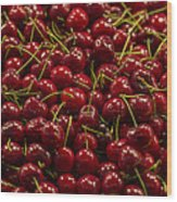 Fresh Red Cherries Wood Print
