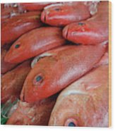 Fresh Red Snapper At The Fish Market Wood Print