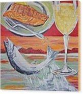 Fresh Salmon Dinner Wood Print