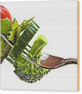Fresh Vegetables On A Fork Wood Print