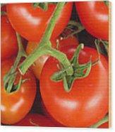 Fresh Whole Tomatos On Vine Wood Print