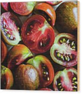 Freshly Cut Tomatoes Wood Print