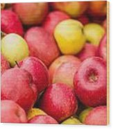 Freshly Harvested Colorful Crimson Crisp Apples On Display At Th Wood Print