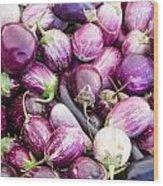 Freshly Harvested Purple Eggplants Wood Print