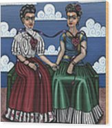 Frida Beside Myself Wood Print