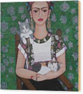 Frida Cat Lover  Wood Print