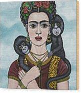 Frida In The Sky Wood Print