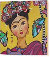 Frida Kahlo And Her Cat Wood Print