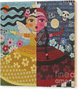 Frida Kahlo Angel Devil Queen Wood Print