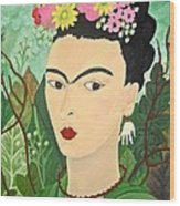 Frida With Flowers Wood Print