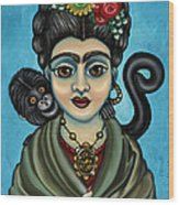 Frida's Monkey Wood Print