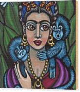 Frida's Monkeys Wood Print by Victoria De Almeida