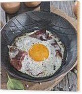 Fried Egg In A Pan Wood Print
