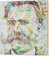 Friedrich Nietzsche Watercolor Portrait Wood Print
