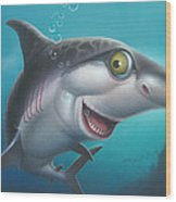 friendly Shark Cartoony cartoon under sea ocean underwater scene art print blue grey  Wood Print